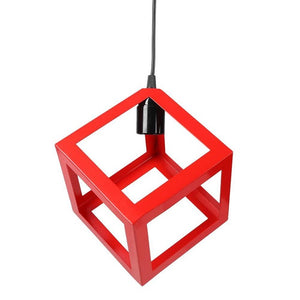 E27 Bulb Cage Abajur Guard Ceiling Pendant Square Shade Light Cafe Lampshade W/Cable Lampshade