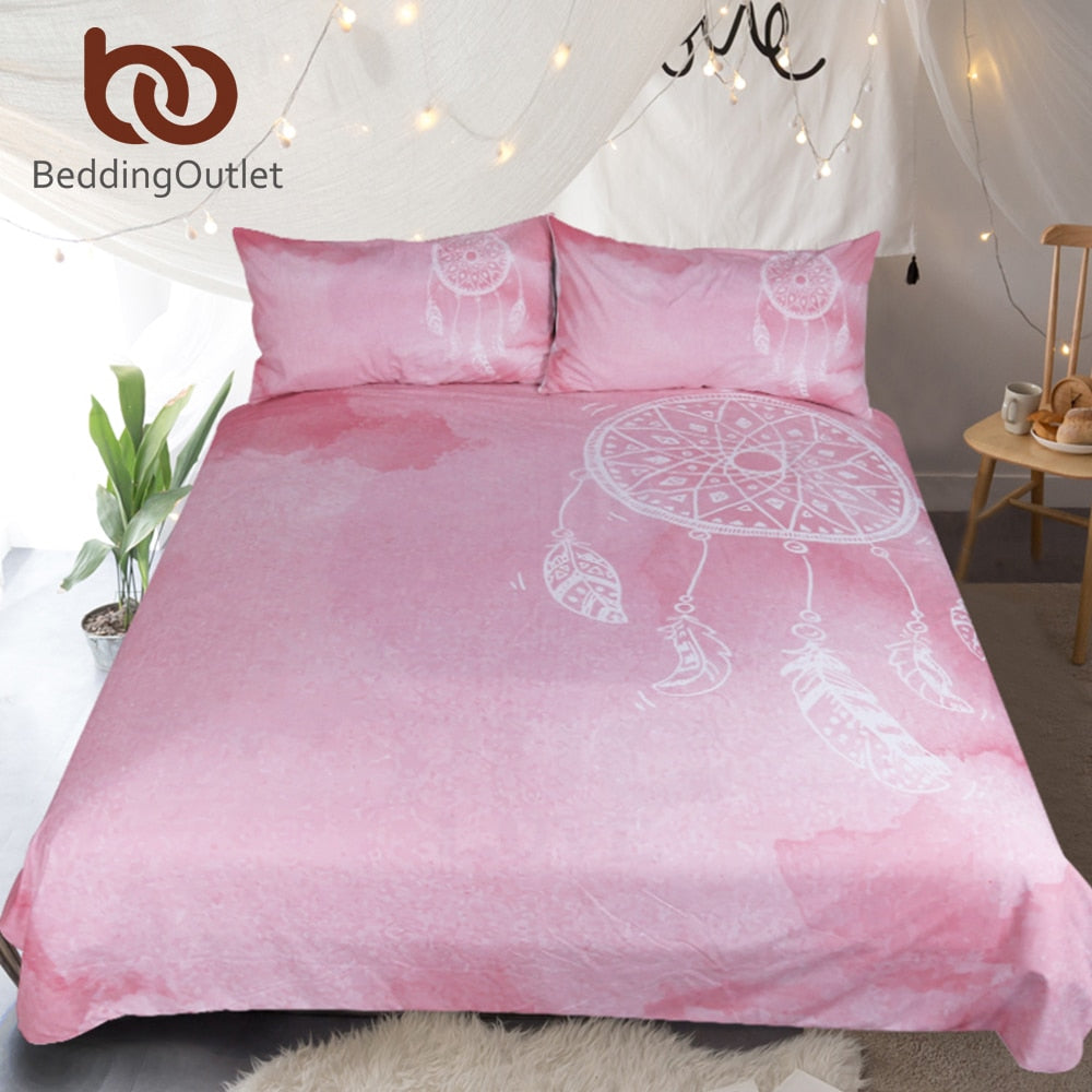 BeddingOutlet Watercolor Dreamcatcher Bedding Set Queen Size Pink Quilt Cover With Pillowcases Girls Bedclothes Luxury 3pcs