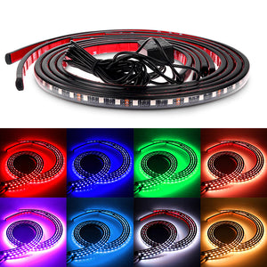 4PCS 90cm & 120cm Car Music Control RGB Strip Light Kit Flexible Atmosphere Lamp Foot Lamp Car Bumper Rear Bottom Light with IR Remote Outdoor Indoor Use