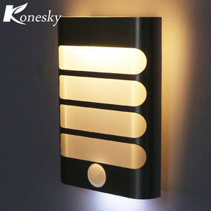 Konesky Rechargeable Night Light with Motion Sensor LED Wireless Wall Lamp Night Auto On/Off for Kid Hallway Pathway Staircase