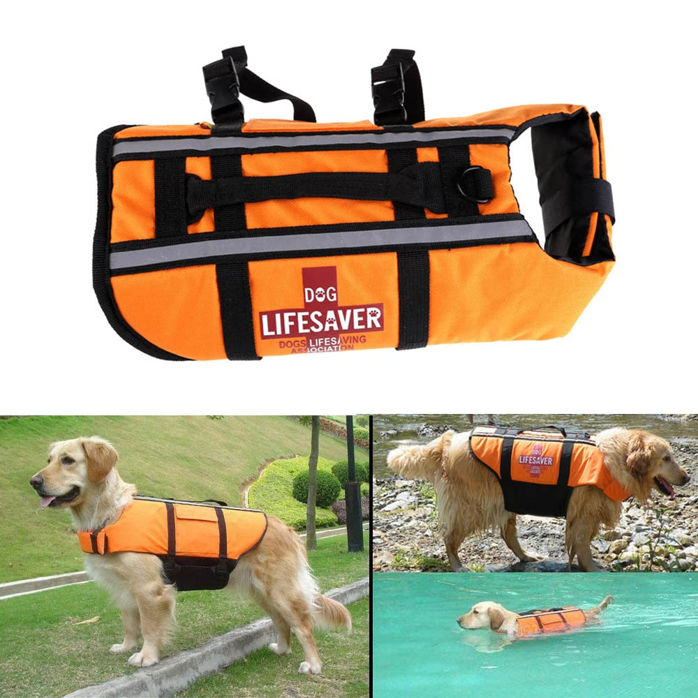 S/M/L Orange Dog Swimsuit Pet Float Life Jacket Life Vest Aquatic Safety Swimming Suit Boating Life Jacket Pet Products