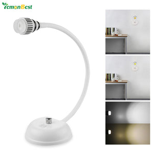 Modern Style Flexible LED Desk Lamp Table Light Screw Mounted with Power Switch Bedside Reading Light AC 85-265V