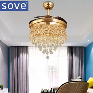 Modern Luxury Folding Ceiling Fan Crystal Led Lamp Retractable Ceiling Fans With Lights Remote Control Bedroom 220 Volt Fan