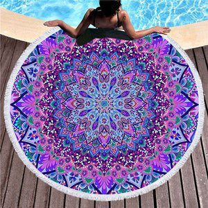 BeddingOutlet Bohemian Round Beach Towel Blue and Purple Tassel Tapestry Microfiber Yoga Mat Boho Toalla Blanket 150cm Fashion