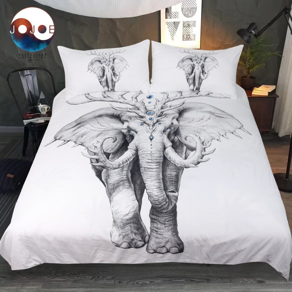 Elephant Soul by JoJoesArt Bedding Set Indian Duvet Cover 3D Printed Bed Set 3pcs Animal Black and White Bedclothes For Adults