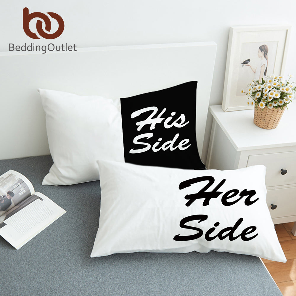 BeddingOutlet Black and White Bed Pillow Case Soft Pillowcase His Her Side Couple Pillow Cover Gift for Him or Her 2Pcs 2 Sizes