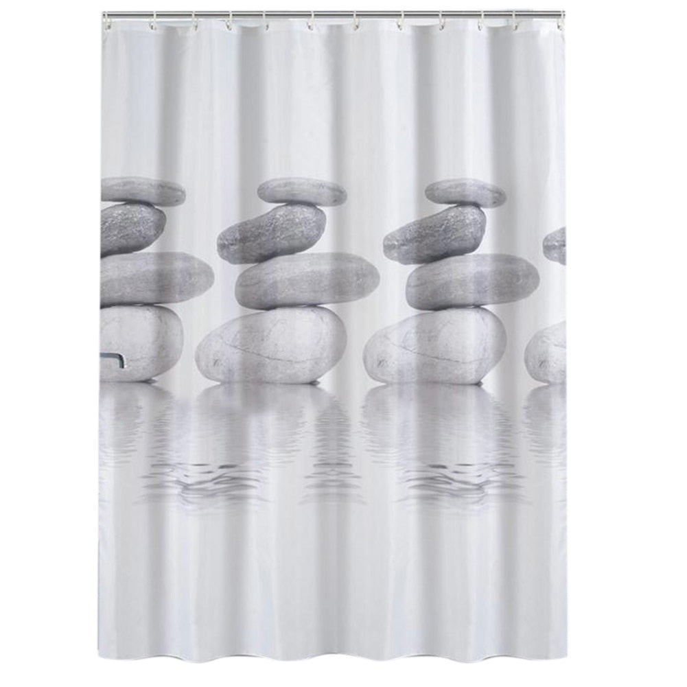 Waterproof 3D Shower Curtains Stone Plants Design Bath Screen Curtains for Bathroom Home Decor Bathroom Product