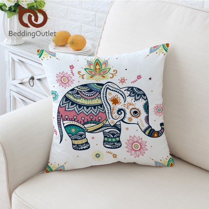 BeddingOutlet Rainbow Mandala Elephant Cushion Cover Bohemian Pastel Floral Pillow Case Microfiber Soft Throw Cover 45x45 70x70
