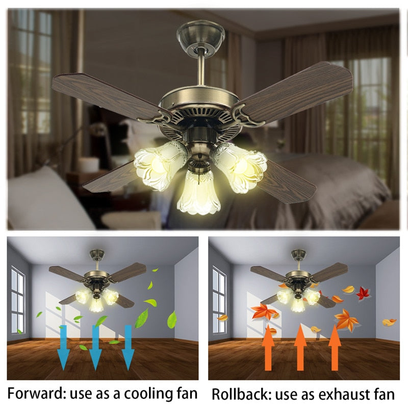 Smuxi 36/42 Inch LED Ceiling Fan For Living Room Ceiling Fans With Lights Cooling Fan Remote Fan Lamp AC110-240V