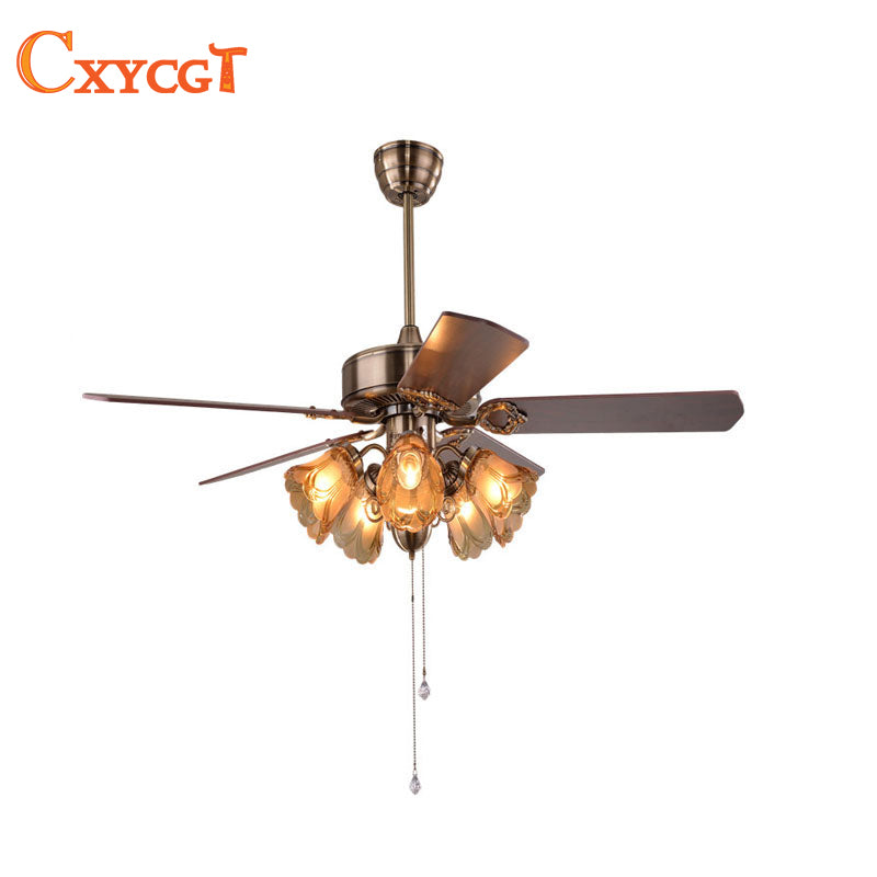 25W 52inch LED Ceiling Fan Light for Dining Room Living Room Fan Lamp with E27 holder