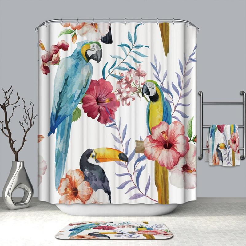 Printed Polyester Waterproof Shower Curtain for Toilet Bathroom Bath Screen Mildew Proof Bath Curtains Bathroom Products