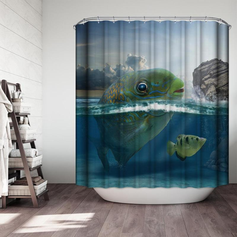 Printing Polyester 3D Shower Curtains Waterproof Mildew Proof Bath Curtains for Bathroom Decoration Screens