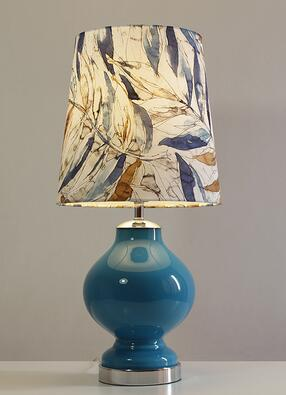 Blue glass. American decorative bedside lamp