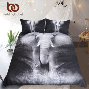 BeddingOutlet Elephant Bedding Set Queen 3D Printed Duvet Cover Double Black and White Bed Cover Photography Bedclothes 3pcs