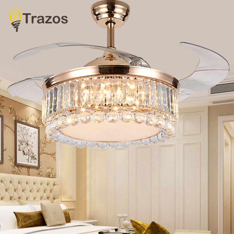 TRAZOS 42 inch LED Golden Ceiling Fans With Lights Remote Control 220v living room bedroom home Ceiling Light Fan Lamp