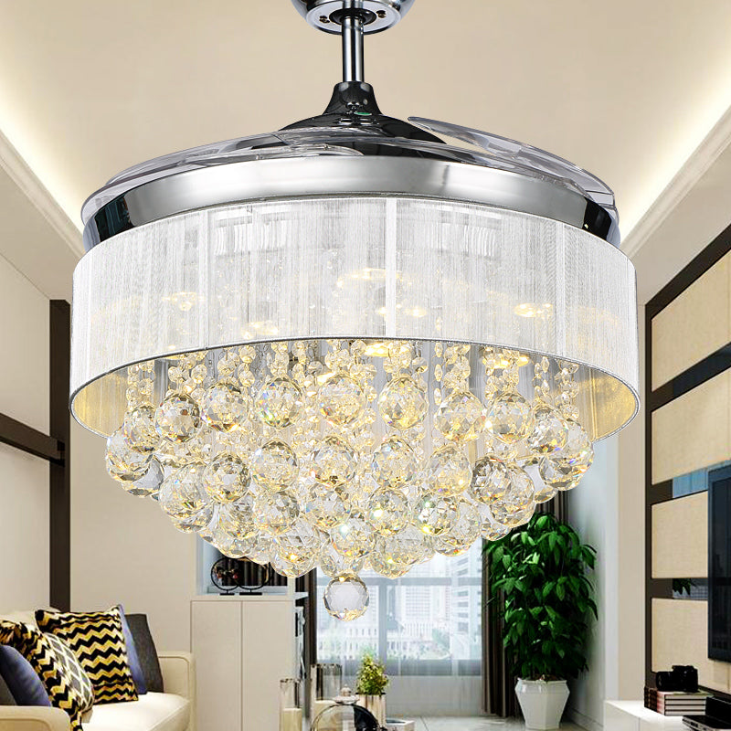TRAZOS LED Modern Crystal Ceiling Fans With Lights Folding Ceiling Fan Remote Control Ceiling Light Fan Lamp Ventilador De Techo