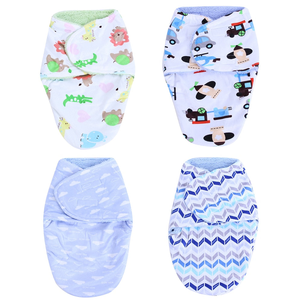Newborn Baby Swaddle Wrap Blanket Double Layer Short Plush Baby Sleeping Swaddle Infant Receiving Blankets Sleeping Bag