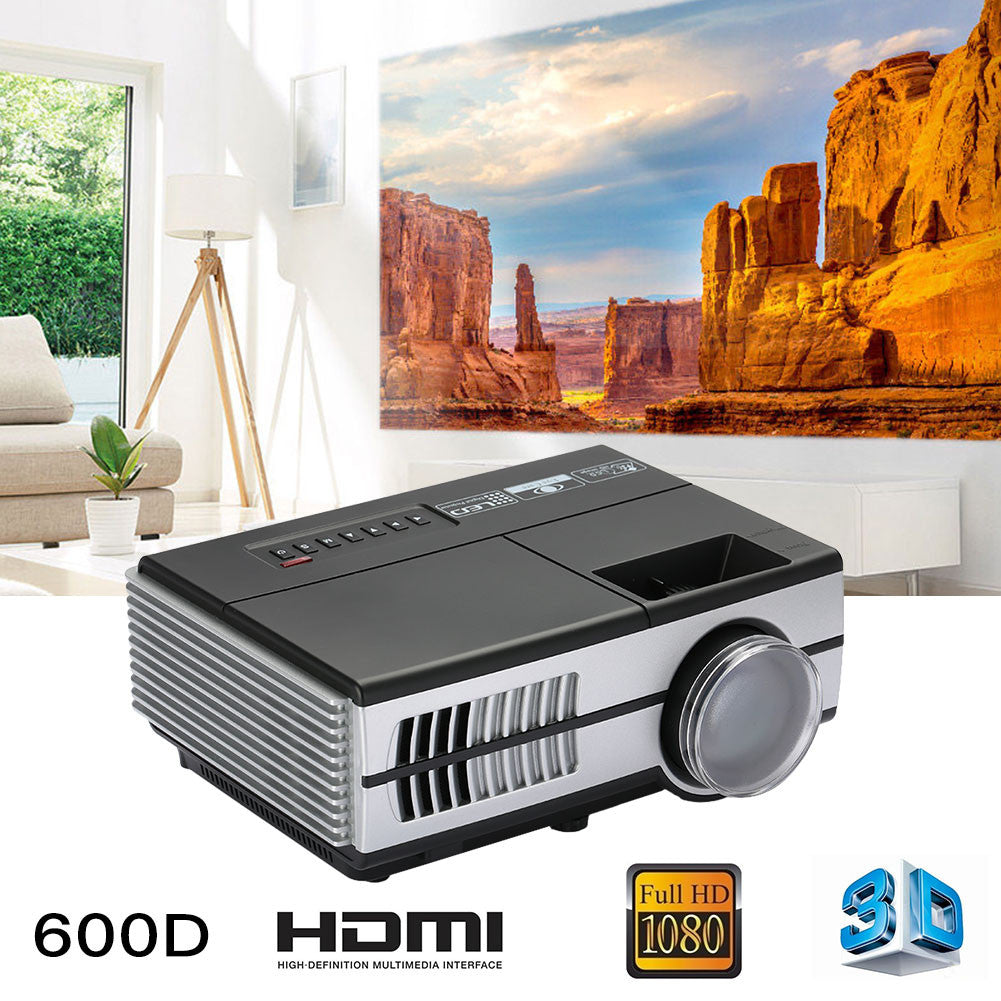 Mini Projector LED 3D Projector Durable TV Office Video Projector 600D 1080P HD Theater School