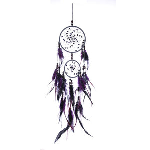 Purple Dream Catcher Feather Crafts Wind Chimes Handmade Indian Dreamcatcher Net for Wall Hanging Car Home Decor
