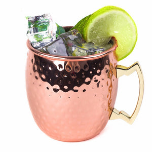 Solid Copper Moscow Mule Mugs, 18 Ounce Unlined Mug, Drinking Cup Perfect for Cocktails Iced tea and Beer Specification:304 stainless steel hammer cup