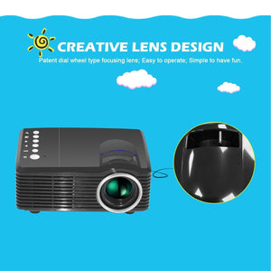 Video Projector LED Projector Portable Home Cinema Theater Mini Projector USB/SD/AV Port Manual Focus Courtyard Office
