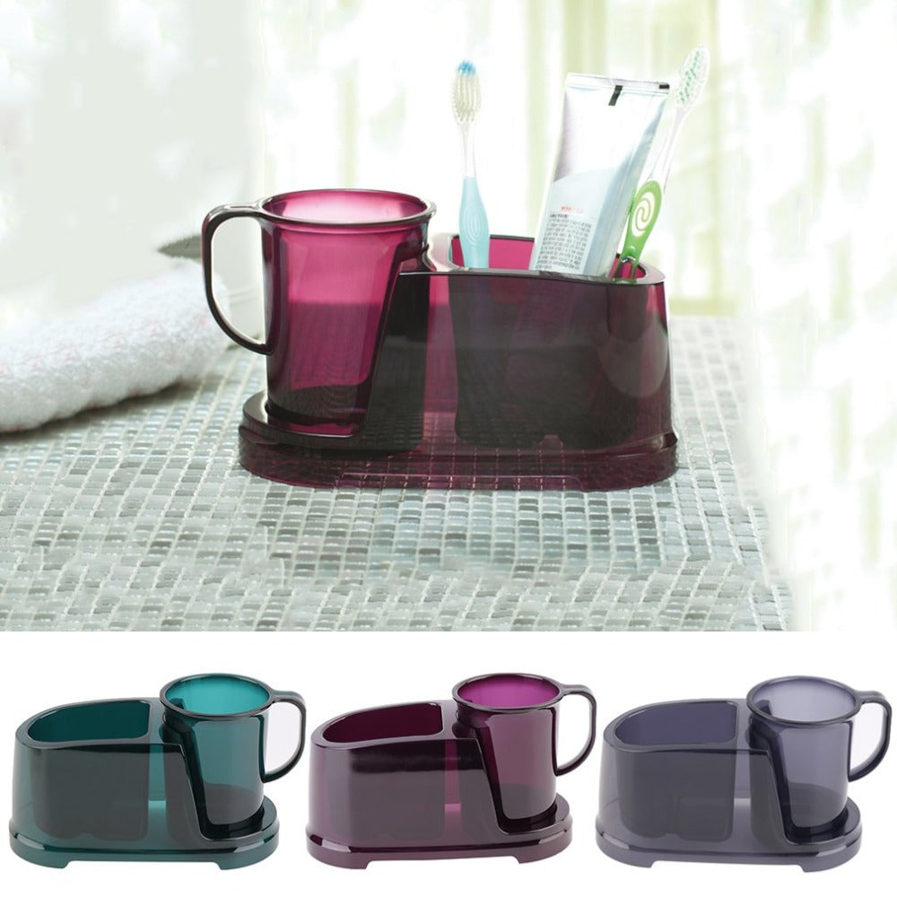 2 in 1 Detachable Teeth Brushing Water Cup With Toothbrush Toothpaste Holder Creative Storage Case Organizer Box Bathroom Use