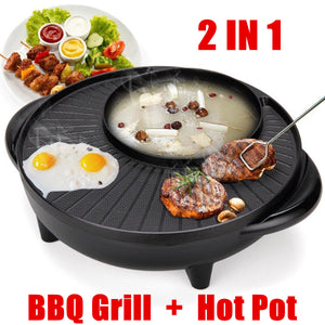 1350W 2 In 1 Electric Non Stick BBQ Grill Plate Steamboat Hot Pot 34cm 220V