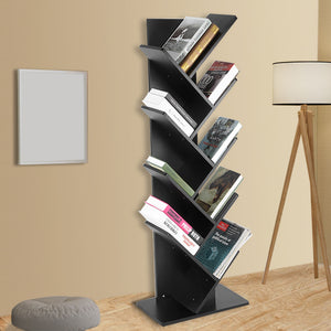 9-Shelf Tree Bookshelf,Superjare Compact Book Rack Bookcase,Display Storage Furniture for CDs,Movies & Books,Holds Up To 10 Books Per Shelf,Black