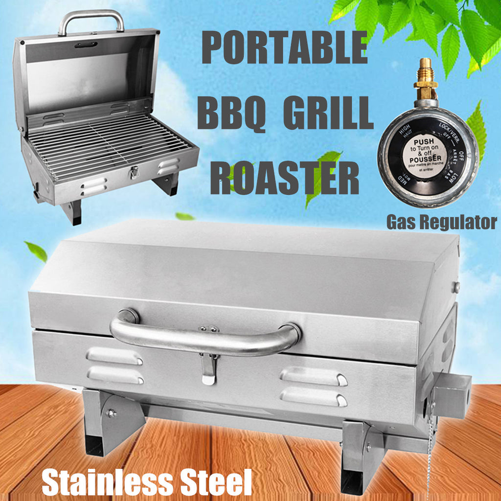 Portable Gas Grill BBQ Stainless Steel Tabletop Camping Boat Fishing Barbeque