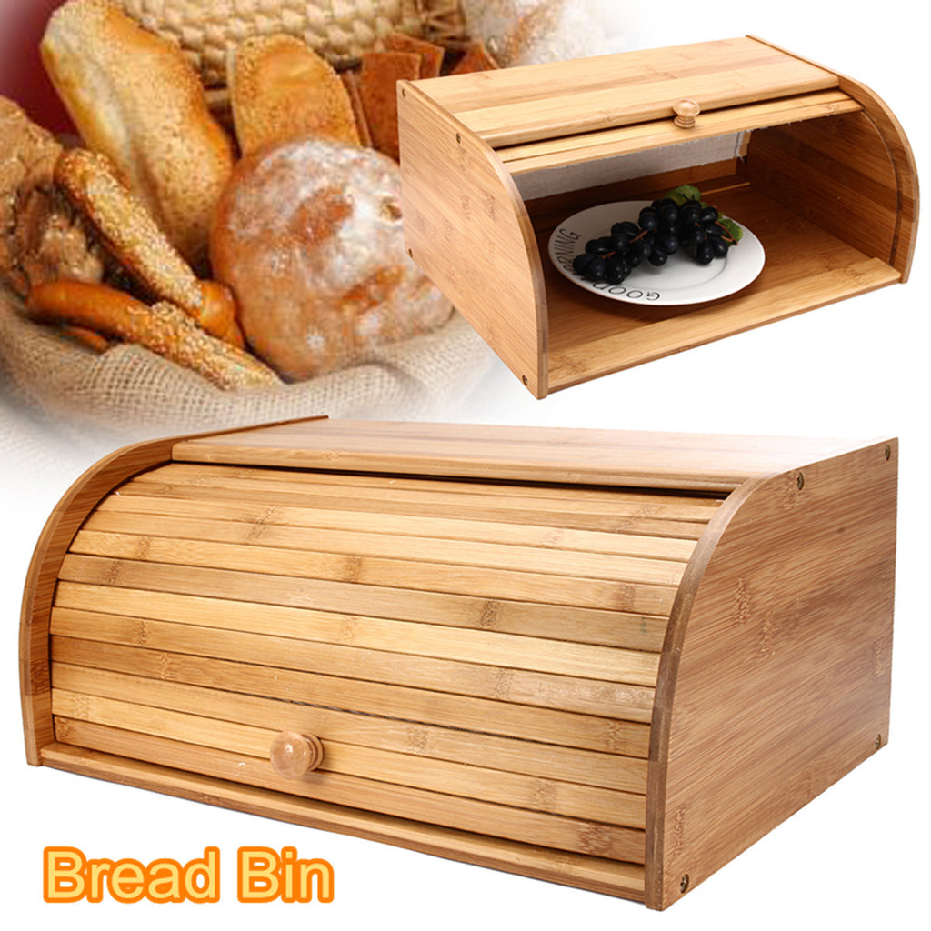 Wooden Bamboo Roll Top Bread Bin Double Decker 2 Layer Food Storage 40x27x17CM