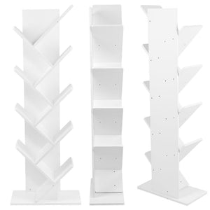 9-Shelf Tree Bookshelf,Superjare Compact Book Rack Bookcase,Display Storage Furniture for CDs,Movies & Books,Holds Up To 10 Books Per Shelf,White
