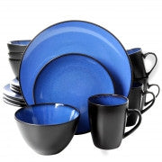 Gibson Soho Lounge Round 16 Piece Dinnerware Set, Blue