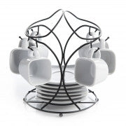 Gibson Elite Gracious Dining 13-Piece Porcelain Espresso and Saucer Set with Metal Rack