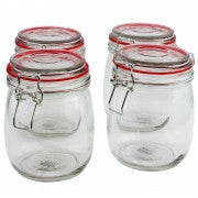 General Store Cottage Chic 4 Piece 22 oz. Preserving/Storage Jar Set with Wire Bail & Trigger Closure