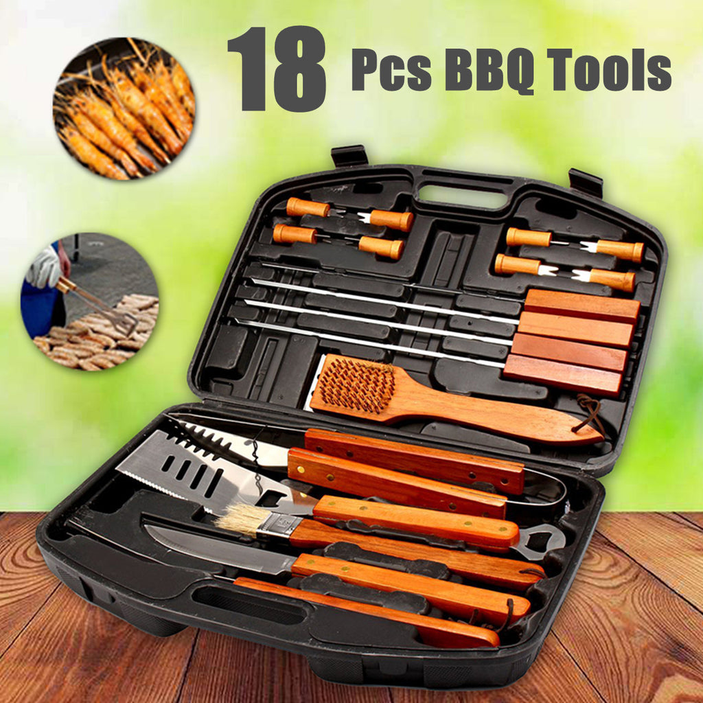 18Pcs BBQ Tool Set Stainless Steel Grill Cooking Outdoor Utensils Kit Case