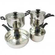 Oster Sabato 9 piece Cookware Set in Silver with Italian Bakelite Handle