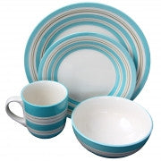 Gibson Sunset Stripes 16 Piece Dinnerware Set in Teal