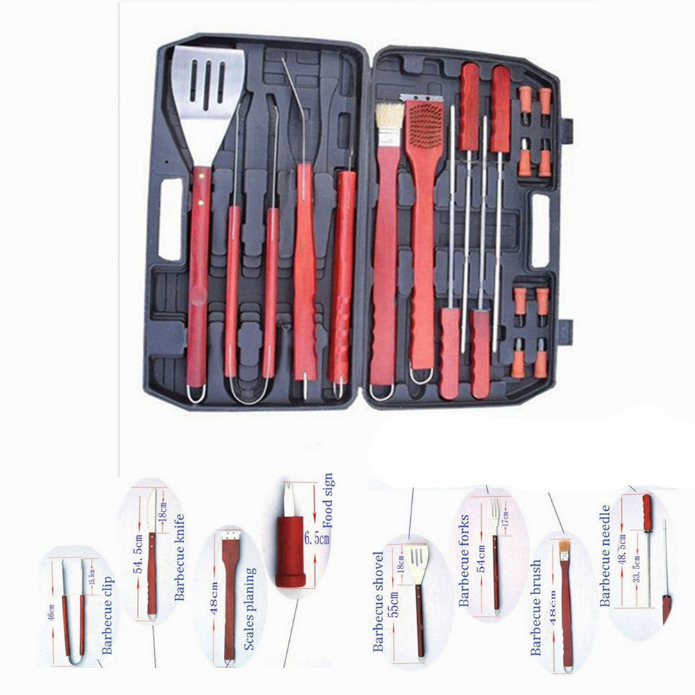 18Pcs BBQ Barbecue Tool Set Grill Grilling Tool Stainless Steel Thermometer Lot