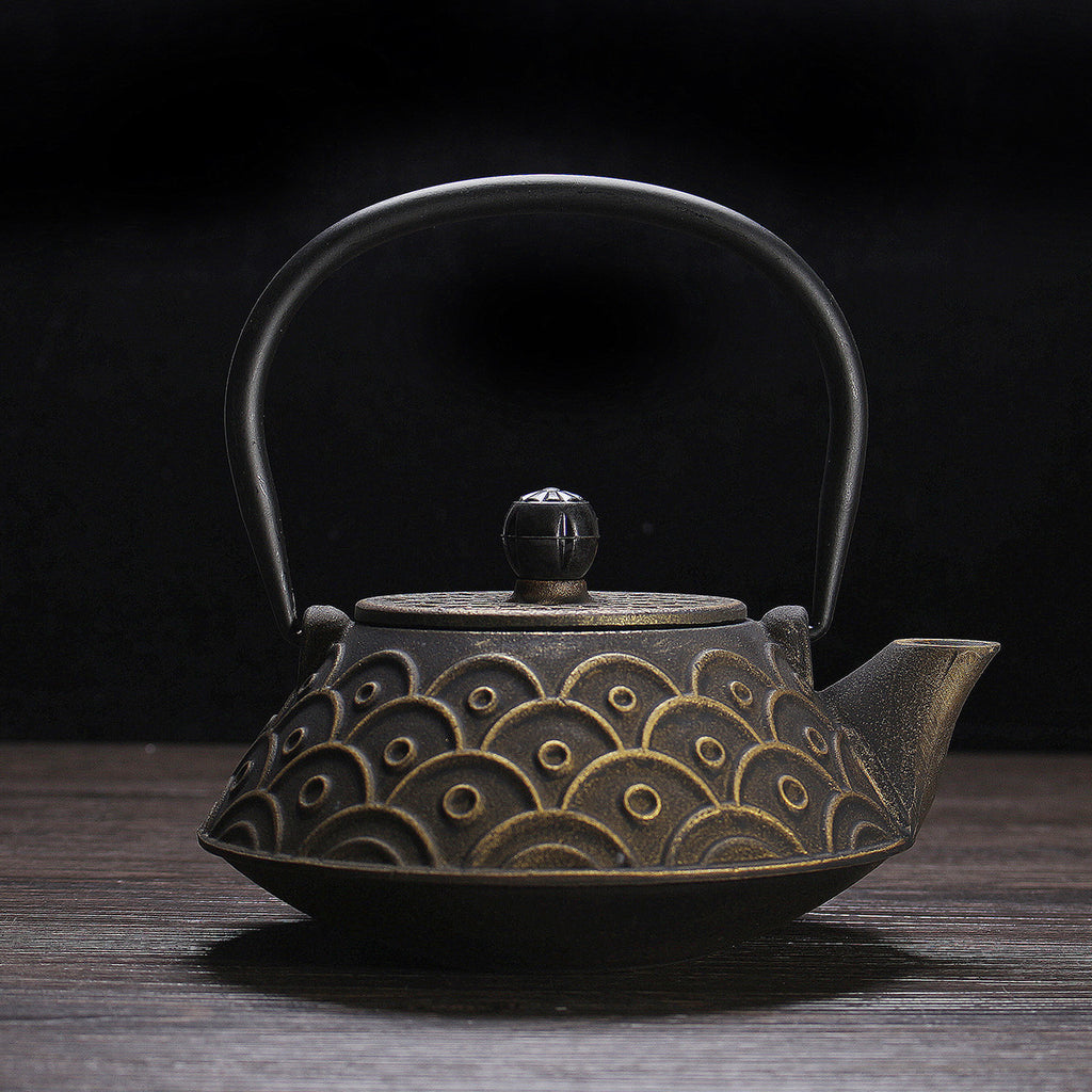 0.9L Japanese Style Fish Scales Cast Iron Kettle Teapot Pot Comes With Strainer