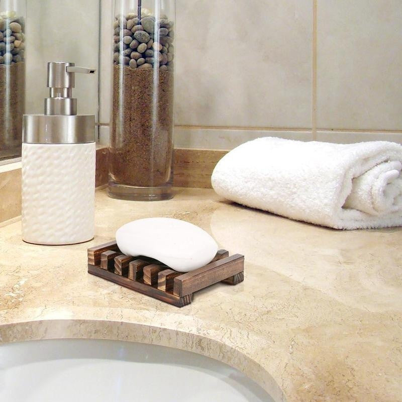 Fashion Natural Wood Wooden Soap Dish Storage Tray Holder Bath Shower Plate Bathroom
