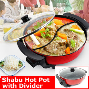 Dual Sided Electric Hot Pot Shaba Shabu Non-stick With Divider 1300W 220V Red