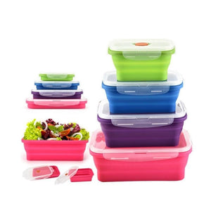 4 Pcs Home Kitchen Folding Silicone Lunch Box Food Storage Container Microwave Tableware