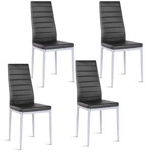 Costway Set of 4 PU Leather Dining Side Chairs Elegant Design Home Furniture Black