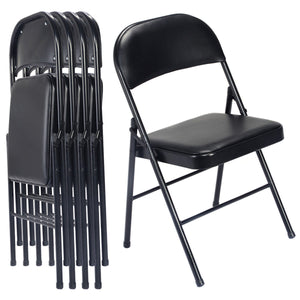 Costway Set of 4 Black Folding Chairs Steel PU Portable Home Garden Office Furniture