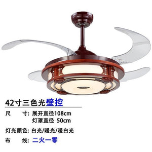 Fanlive Led Chinese Style Solid Wood Fans Lamp Ceiling Fan Household Concise A Living Room Bedroom 42 Inch Abanicos De Madera