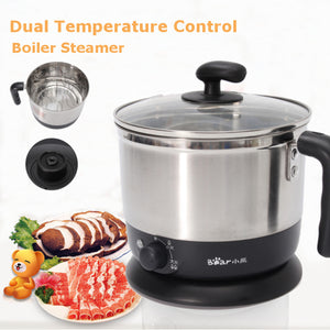 1.2L 600W Multifunction Stainless Steel Electric Boiler Skillet Hot Pot Steamer