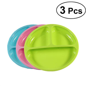 3pcs Silicone Divided Toddler Plates Easy to Clean Dishwasher and Microwave Safe Great for Baby or Older Kids (Random Color)