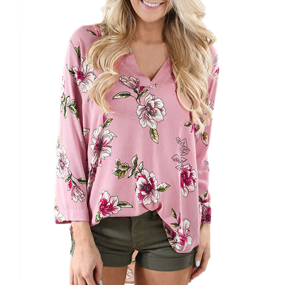 Women Autumn Casual Floral Printing Long Sleeve Tops Shirt Blouse