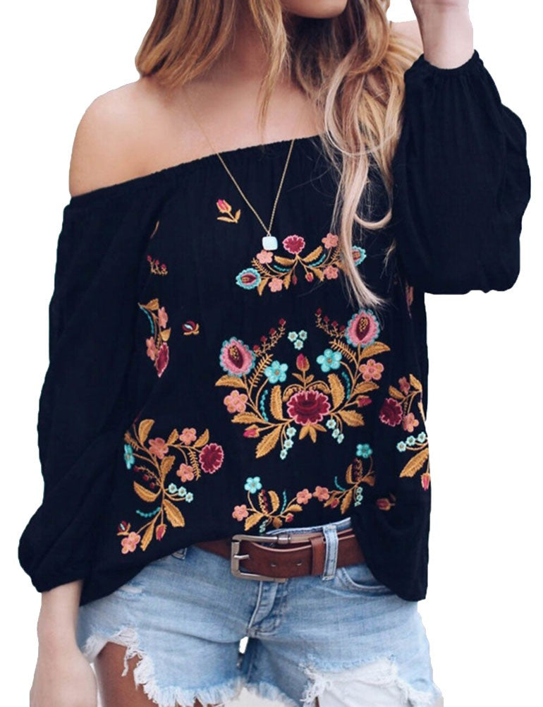 Women Off the Shoulder Long Sleeve Floral Shirt Tops