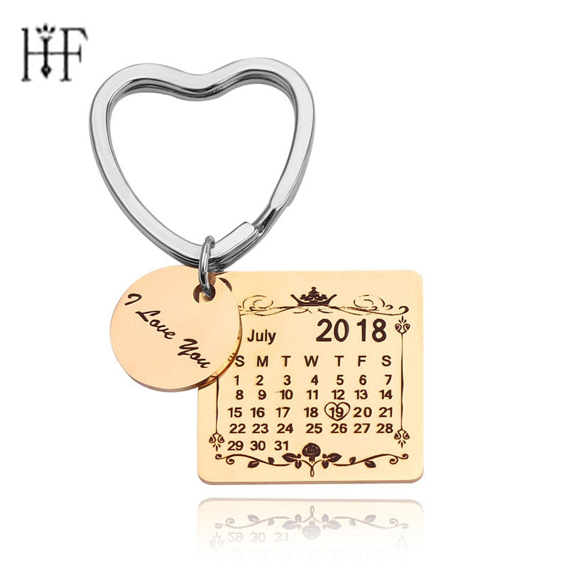 Custom Keyring Engraved Special Calendar I Love You Keychain Customize Birthday Calendar Graduation Students Portachiavi Gift